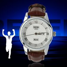 Male 9058 Skmei Man Waterproof Boutique Quartz Watch Leather Strap Big Size MC