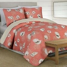 NEW Twin Full Queen King 3 pc Coral Beige Seashells Beach Quilt Coverlet Bed Set