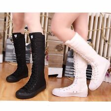 New Womens Knee High Boots Zip Canvas Lace Up Sneakers Dance Punk Shoes Pumps
