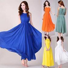 Chiffon Summer Dress Boho Maxi Long Evening Party Dress Women's Beach Sundress