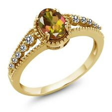 1.02 Ct Oval Mango Mystic Topaz White Diamond 14K Yellow Gold Ring