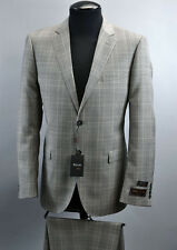 TIGLIO LUXE ITALIAN 2 PC Mens Suit~40R/42S/42R~WOOL~GREY WINDOWPANE~RETAIL $699