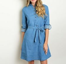 Belted Loose Pleat Quarter Roll-Tab Partial Button Down Collar Blue Denim Dress