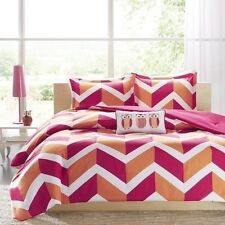 NEW Twin XL Full Queen Bed Pink Orange White Chevron Owls 4 pc Comforter Set NWT