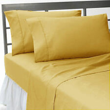 Gold Solid US Bedding Collection 1000 TC 100%Egyptian Cotton Olympic Queen Size
