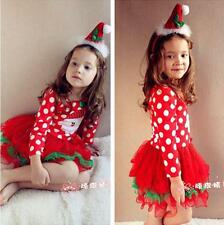 Xmas Baby Girls Kids Clothing Christmas Party Red Santa Long Sleeve Tutu Dresses