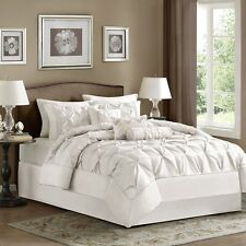 NEW Full Queen Cal King Bed 7 pc Solid White Pinch Pleat Comforter Elegant Set