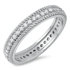 Sterling Silver 925 ETERNITY W/ ROPE DESIGN WEDDING BAND CZ RING 4MM SIZES 5-10