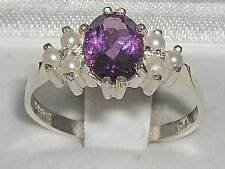 Ladies Contemporary Solid 925 Sterling Silver Natural Amethyst & Pearl Ring