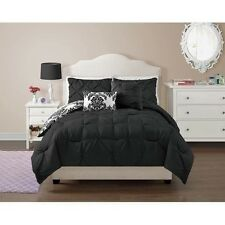 NEW Twin Full Queen Bed Bag 5 pc Black White Damask Reversible Comforter Set NWT