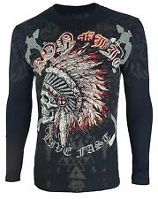 Konflic NWT Men's Native American Chief Skull Head MMA Muscle LongSleeve T Shirt