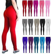 WOMENS LADIES PLAIN COLOURED LYCRA STRETCH JERSY LONG LEGGINGS PLUS SIZE 8-24