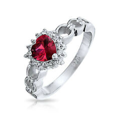 Bling Jewelry Simulated Garnet CZ Heart Sterling Silver Love Links Ring