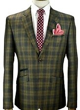 Men's Vintage Formal Blazer Designer Suit Jacket Tweed Tan /  Tartan checked