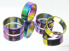 Christian English Lords Prayer Cross Anodised 316L Surgical Stainless Steel Ring