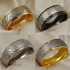 8MM Titanium Wedding Ring Tire Tread Design Comfort Fit Band Gold Black Silver