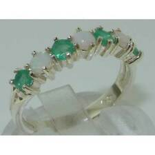 Solid 925 Hallmarked Sterling Silver Natural Opal & Emerald Eternity Ring