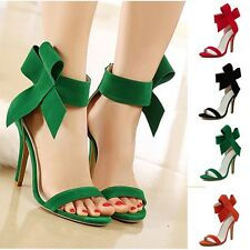 Sexy Women High Heels Open Toe Sandal Bow Ankle Strap Suede Shoes Party Stiletto