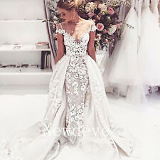 Ivory Cape Sleeve White Wedding Dress Appliques Formal Gown Detachable Train New
