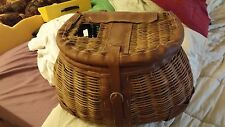 Vintage Wicker Leather Strap Fly Fishing Creel Basket Trout decorator piece nice