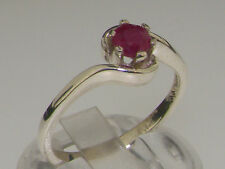 Solid 925 Sterling Silver Natural Ruby Contemporary Style Solitaire Swirl Ring