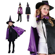 Adult Kids Girl Boy Halloween Witch Cape Cloak Cosplay Fancy Party Dress Costume