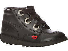 Kickers Kick Hi Largit Black Leather Kids Back To School Black Shoes