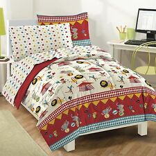 NEW Kids Comforter Set Bedding Twin Full Bed Sheets Reversible Circus Animals
