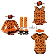 4PC Girl Baby Boy Romper Outfit Tutu Dress Halloween Party Costume Clothes 0-18M