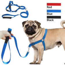 Stop Pulling Nylon Strap Dog Harness and Leash Set for Medium Large Dogs
