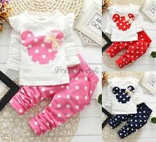 2Pcs Baby Toddler Girls Cotton Tops+Pants Outfits Kids Polka Dot Clothing Suits