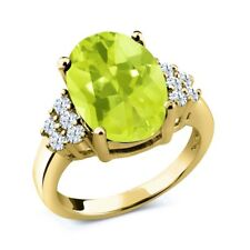 6.20 Ct Oval Checkerboard Yellow Lemon Quartz 18K Yellow Gold Ring