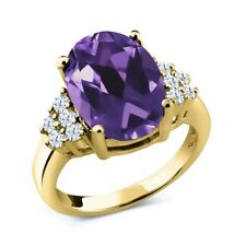 4.90 Ct Oval Purple Amethyst White Topaz 18K Yellow Gold Plated Silver Ring