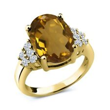 5.33 Ct Oval Whiskey Quartz White Diamond 18K Yellow Gold Plated Silver Ring