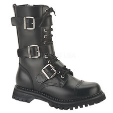 Demonia RIOT-12 Leather Shoes & Boots Black Leather Punk Combat Calf High Boots
