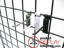 BOX 50 or 100 | 4 INCH GRID GRIDWALL HOOKS | OPTIONS: BLACK, WHITE or CHROME