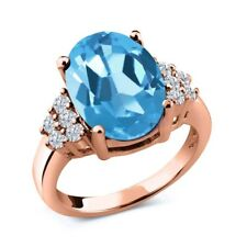 5.33 Ct Oval Swiss Blue Topaz White Diamond 18K Rose Gold Plated Silver Ring