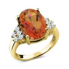 4.30 Ct Oval Twilight Orange Mystic Quartz 18K Yellow Gold Plated Silver Ring