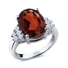 3.90 Ct Oval Red Garnet White Topaz 925 Sterling Silver Ring
