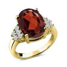 3.83 Ct Oval Red Garnet White Diamond 18K Yellow Gold Plated Silver Ring