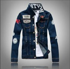 Men's Fashion Casual  Retro Denim Biker Motorcycle Jean Jacket Coat Outerwear