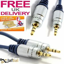 HQ OFC Shielded 3.5mm Stereo Jack to Jack Cable Gold 1m/2m/3m/5m/1m To 15 Metre