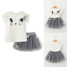 2PCS/Set Toddler Kid Baby Girl Outfits Clothes Cat T-shirt Tops+Tutu Dress Skirt