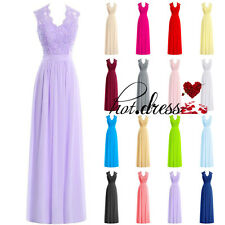 New STOCK Long Formal Wedding Bridesmaid Evening Dress Prom Party Ball Gown 6-18