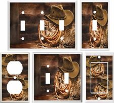 COWBOY HAT & ROPE WESTERN BARN SCENE LIGHT SWITCH COVER PLATE OR OUTLET V885