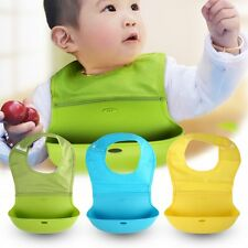 1PC Cute Soft Silicone Washable Infant Baby Feeding Burp Cloth Bibs MC
