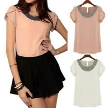 Chiffon Tops Short Sleeve Fashion T-Shirt Blouses Casual Women Plus Size Summer