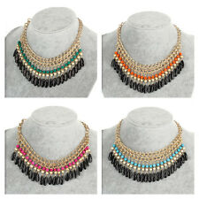 Fashion Jewelry Crystal Chunky Statement Bib Pendant Chain Choker Necklace 0YT