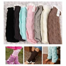 Flower Girls Baby Kids Knitted Lace Boot Cuffs Toppers Leg Warmer Footless Socks