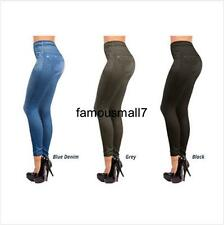 Womens Ladies Pull on Black Grey Denim like Printed Jeggings Skinny Jean legging